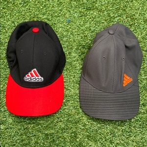 Men's Adidas Fitted Hat Set Gray Black Red